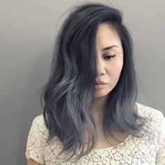 Our trending black to grey balayage ombre shade blends easily in to black hair, resulting in an overall sizzling hot and natural and current ombre look. It works on gray hair. Balayage is a smart solution for gray hair because it . Dark Grey Hair Dye, Grey Ombre Hair, Best Ombre Hair, Hair Color Dark, Dark Hair, Hair Color 2016, Hot Hair Colors, Hair Magazine, Haircut And Color