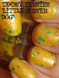"@TawdryTerrier ""Little Surfer Dog"" in the sun - available at https://www.etsy.com/shop/TawdryTerrier #tawdryterrier #nailpolish #indienailpolish"
