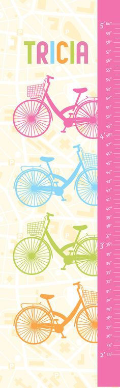 """Personalized Growth Chart - Bicycle- 13"""" X42"""" Inches, Girls Nursery, Play Room, Bicycle and Girls, Pink Growth Chart, Height Chart on Etsy, $58.00"""