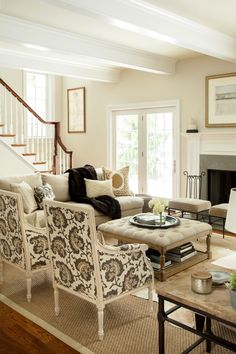 Neutral Living Room, Hip Traditional, Large Scale Print On Chairs, Two  Sofas Facing Each Other   Design Manifest Chestnut Hill Family Room Like  The Coffee ...