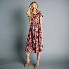 Carey Rose Print Dress - Mauve