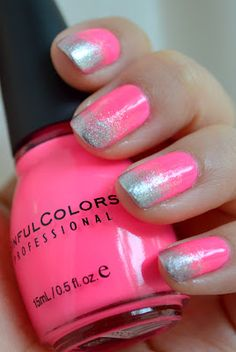 Neon with sponged silver tips