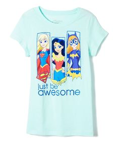 Mint Chip DC Heroines 'Just Be Awesome' Tee - Girls