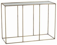 Masins Furniture - 44x16x32 - Iron console table with slendar vertical supports in an antique brass finish and topped with antiqued mirror inlay top. $1176