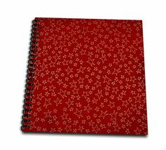 Anne Marie Baugh - Christmas - Scattered Gold Effect Stars On A Red Background Pattern - Memory Book 12 x 12 inch (db_217205_2) *** See this great product.
