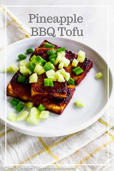 This simple recipe for Pineapple BBQ Tofu does not require a grill, but the use of your broiler. It is a great dish that can be made year round. Grilled Tofu, Marinated Tofu, Vegetarian Grilling, Vegetarian Recipes, Firm Tofu Recipes, Healthy Recipes, Tofu Nutrition Facts, Tofu Breakfast, Bbq Tofu
