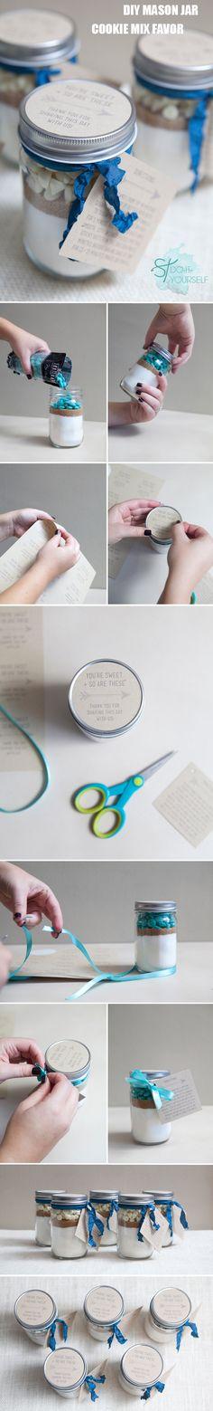 DIY mason jar cookie mix wedding favors