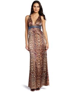 Jessica Simpson Women's Leopard V Neck Beaded Halter Dress >>> Read more  at the image link. (This is an affiliate link and I receive a commission for the sales)
