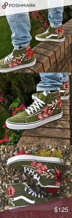 New Men Custom Rose Embroidered Vans Sneaker Shoes Brand new and Authentic Custom Vans. One of a kind design. Definitely a head turner! Vans Shoes Sneakers