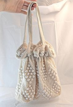 652df8e99606 Items similar to 1960s Cinched White Lucite Beaded Pouch Purse on Etsy