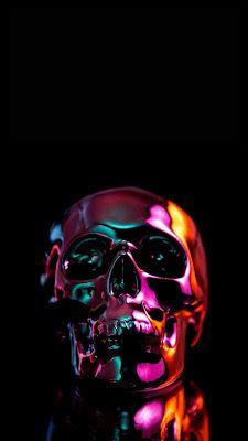 Golden skull, minimal, 1080x2160 wallpaper in 2019 Skull