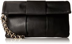 Women's Clutch Handbags - Steve Madden Bziggy Foldover Clutch Black One Size ** Want additional info? Click on the image.