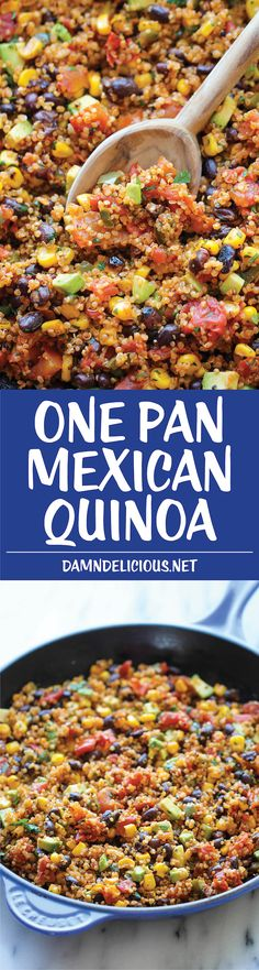 One Pan Mexican Quinoa – Wonderfully light, healthy and nutritious. And it's… One Pan Mexican Quinoa – Wonderfully light, healthy and nutritious. And it's so easy to make – even the quinoa is cooked right in the pan! Mexican Food Recipes, Whole Food Recipes, Vegetarian Recipes, Cooking Recipes, Healthy Recipes, Quinoa Dinner Recipes, Chicken Quinoa Recipes, Cooking Tips, Quinoa Dishes