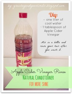 Care: Apple Cider Vinegar Rinse Recipe for shiny hair!  Do it yourself Natural Hair Care Recipe