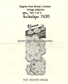 My own vintage collection vintage crohcet pattern, Design # 7430 - 4 pages to this design