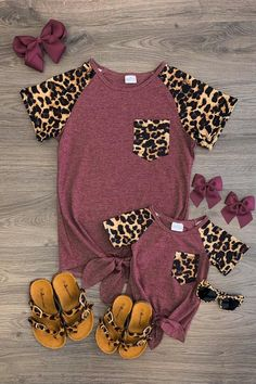 Mom & Me - Cheetah Tie Top - Heather Wine - Sparkle In Pink Best Picture For baby girl clothes handm Mommy And Me Outfits, Girl Outfits, Cute Outfits, Baby Girl Fashion, Kids Fashion, Womens Fashion, Little Fashionista, Cute Baby Clothes, Mom Clothes