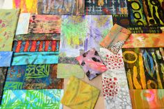 This is a different sort of chap altogether, being made entirely of fabric; I'm using many of the fabrics I have recently printed using my new Gelli Plate, especially the strongly graphic and vivid ones. - Stephanie Redfern