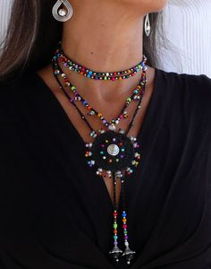 Black TRIBAL MANDALA crochet NECKLACE boho necklace beaded