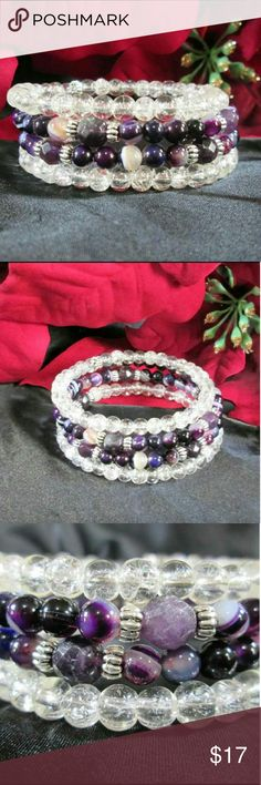 NWOT Amethyst & Quartz Wrap Bracelet 4 layers of deep purple & sparkling crystal. Smaller purple  agates, large faceted amethyst, silver tone barrel beads & crystal quartz on 1 size fits all memory  wire. NWOT.  Gift  boxed. Jewelry Bracelets