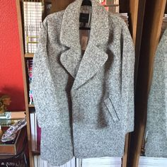 Forever 21 boucle coat Brand new never worn forever 21 grey & white boucle coat. Oversized fit. Knee length. Great for fall/ winter. Comes with additional button. Tag attached. Forever 21 Jackets & Coats