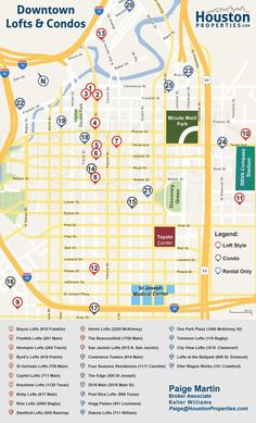 Map of all Downtown Houston residential highrises from http://www.houstonproperties.com/downtown-houston-real-estate.html