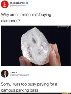 Because white diamonds aren't that rare, and we're not that stupid. DeBeers can bite my ass. Only diamond I'll pay a mint for is a natural pink one. 👍