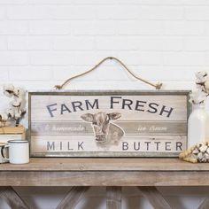 "Wood ""Farm Fresh"" Wall Sign Panels Brown x - Vip Home & Garden Wood Decor, Farm Fresh, Hanging Signs, Wooden Farm Signs, Wooden Signs Diy, Custom Wooden Signs, Stylish Wall Decor, Farm Fresh Milk, Wall Signs"