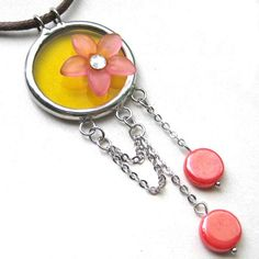 Stained glass pendant with beads and lucite flower charm | Flickr - Photo Sharing!