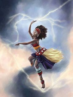 """divinemoon: """" Oya, is a great Orisha, sweet and scary at the same time, who is present in the light winds but also in hurricane force winds, squalls, thunderstorms and sparks. She is named as Ade Laye: """"who kills with fire"""" and saved the duality of..."""