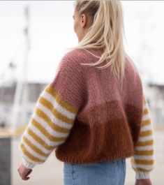 Cool, fun and happy knitwear. Knitting pattern for womens sweater. We love colors, and we love mohair! Fun knit, fantastic to wear! Jumper Knitting Pattern, Dishcloth Knitting Patterns, Jumper Patterns, Knitting Kits, Kids Knitting, Free Knitting Patterns For Women, Mohair Sweater, Knitted Hats, Knitwear