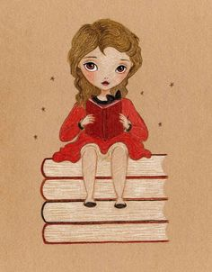 Just give her a good book, preferably a vintage one, with its pages slightly distressed and fragrant with the perfume of yesterdays, and she's on top of the world!     This print is reproduced from an endearing original drawing, 'For The Love Of Books', by me.