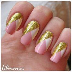 """I just love this simple adorable mani ❤✨❤ Check out my instagram @liliumzz  Inspiration: @annkristin0 Free hand, no striping tape used. #nail #nails #nailart #naildesign#nailpolish #nailstagram #manicure #mani #neglelakk #manikyr #instanails #nagellack #nailspiration #nagellack  #notd #nailsoftheday #liliumzz #cutenails #cutemani #nails2inspire #goldglitter #gold #adorable #elegant #pinkpolish #pinknails"