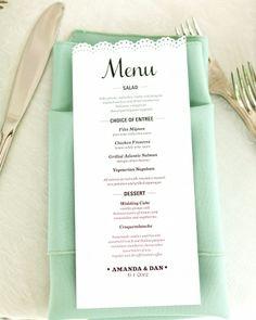 vintage rustic romantic wedding , decor , reception , menu , photo , pretty Menu featuring a Martha Stewart scalloped border paper punch