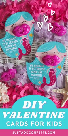 Get ready for Valentine's Day with these creative and unique kids valentines for school and Valentine's Day classroom parties. This mermaid valentine card is too cute to pass up! These DIY valentines are so easy to assemble. The printable valentine is available in my Etsy shop. Just pair it with a plastic kazoo for an adorable non-candy, non-food valentine gift! Be sure to head to justaddconfetti.com for even more cute and simple kids valentines ideas.