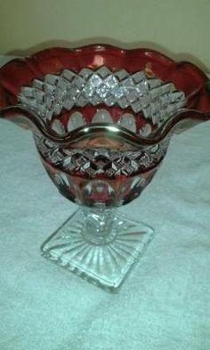RED CUT GLASS DEPRESSION WARE BOWL/VASE