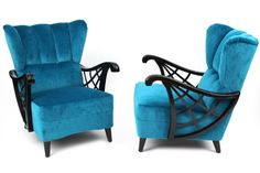 Ebonized Birch & Mohair Lounge Chairs | red modern furniture