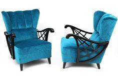 Ebonized Birch & Mohair Lounge Chairs | red modern furniture
