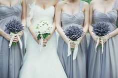 Adoring this Lavender Gray for Bridesmaids dresses, it would work for any season.