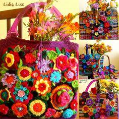 Colhendo flores, bolsas de crochê by Lidia Luz, via Flickr http://lidialuz.blogspot.be/