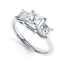3 Stone Princess Cut Diamond Engagement Ring. Trinity - a classic three stone princess cut diamond engagement ring with graduating diamonds.