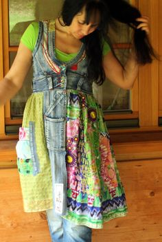 Crazy recycled jeans dress tunic by jamfashion on Etsy