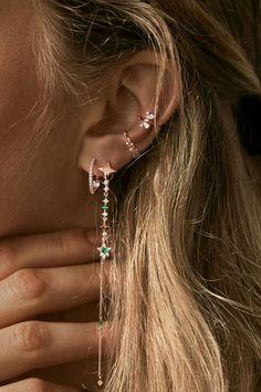 Rue Gembon – Rue Gembon Eniko Emerald Ear Jacket Just in Druzy earrings Adorable Druzy earrings for pierced ears what's great a. Ear Charms™ Ear Cuff Non-pierced Earring Wraps, 3 HEART Full Ear Spray in Rhodium or Gold over Sterling Silver Ear Jewelry, Dainty Jewelry, Cute Jewelry, Jewelery, Jewelry Accessories, Luxury Jewelry, Jewelry Sets, Handmade Jewelry, Hippie Jewelry