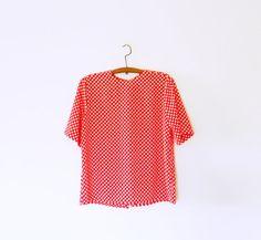 Bright Red Polka Dot Vintage Blouse / Button Down Back / Sweetheart Valentines Day Top / Vintage Boxy Polka Dot Blouse / Retro Polka Dots