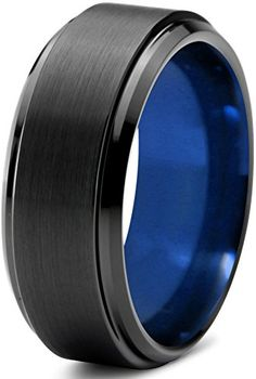 Chroma Color Collection Tungsten Wedding Band Ring 10mm for Men Women Black Blue Beveled Edge Brushed