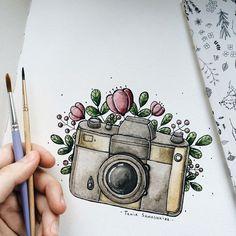 Art Drawings Sketches, Cute Drawings, Watercolor Illustration, Watercolor Paintings, Watercolour, Camera Illustration, Camera Drawing, Arte Sketchbook, Bullet Journal Art
