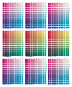 Sample Pms Color Chart CMYK