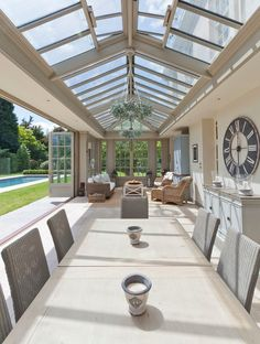 by Vale Garden Houses Interior view of a bespoke orangery with extension glazed roof light.Interior view of a bespoke orangery with extension glazed roof light. Patio Interior, Interior And Exterior, Interior Design, Interior Ideas, Luxury Homes Interior, Interior Inspiration, Design Inspiration, Conservatory Decor, Conservatory Interiors