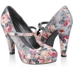 Floral Mary Jane Heels ($25) ❤ liked on Polyvore featuring shoes, pumps, heels, scarpe, sapatos, women, mary jane platform shoes, high heel platform pumps, pointed-toe pumps and floral print pumps