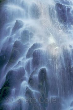 Ethereal light and textures in cascading water at Lower Proxy Falls, Three Siters Wilderness, Oregon Cascades.