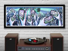 "PRESENCE -  3D Panoramic Concert Poster with red/blue Glasses - 11.75x36"" - Signed Limited Edition Art Print"